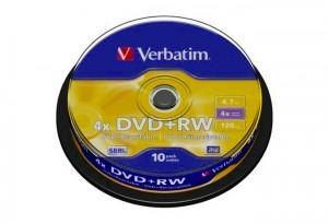 DVD- RW VERBATIM CAKE 10pcs 4X (ΕΠΑΝΑΓΡΑΨΙΜΑ DVD)